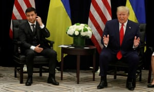 Donald Trump and Ukraine's president, Volodymyr Zelenskiy, during the 74th session of the UN general assembly in New York, New York, on 25 September.