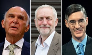Vince Cable, Jeremy Corbyn and Jacob Rees-Mogg.