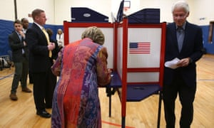 Hillary Clinton votes (presumably for herself).