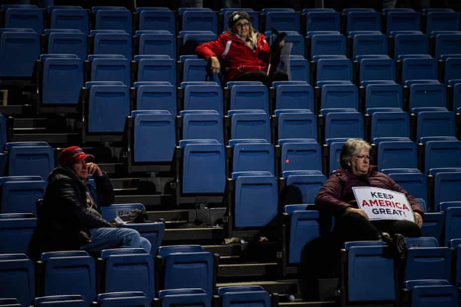 Supporters wait in their seats after President Donald J. Trump exited the stage at the Keep America Great Rally at the Knapp Center on Thursday, January 30, 2020 in Des Moines, Iowa.