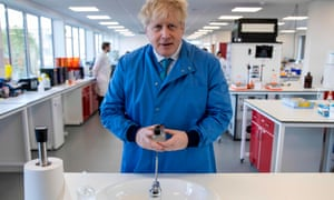 Boris Johnson during a visit to the Mologic laboratory
