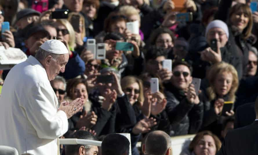 Pope Francis in St Peter's Square, the Vatican. The pontiff arrives in Mexico next week when he is expected to be greeted by a 19km line of mobile phones lighting his way into the capital.