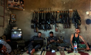 Free Syrian Army fighters on the outskirts of Aleppo, Syria, in 2012
