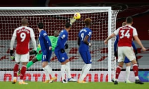 Chelsea keeper Edouard Mendy is beaten by Granit Xhaka's free-kick for Arsenal's second goal.