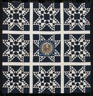Feathered star quilt featuring Henry Clay portrait, about 1844, Unknown maker