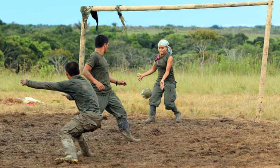 Farc fighters play football at Camp Diamante.
