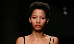 Model Lineisy Montero on the Rochas Spring/Summer 2016 catwalk.