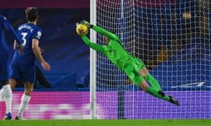 Chelsea keeper Kepa Arrizabalaga makes a save.