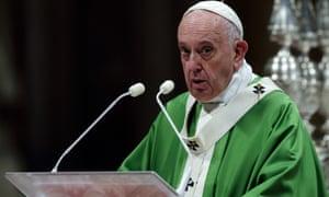 Pope Francis celebrates holy mass