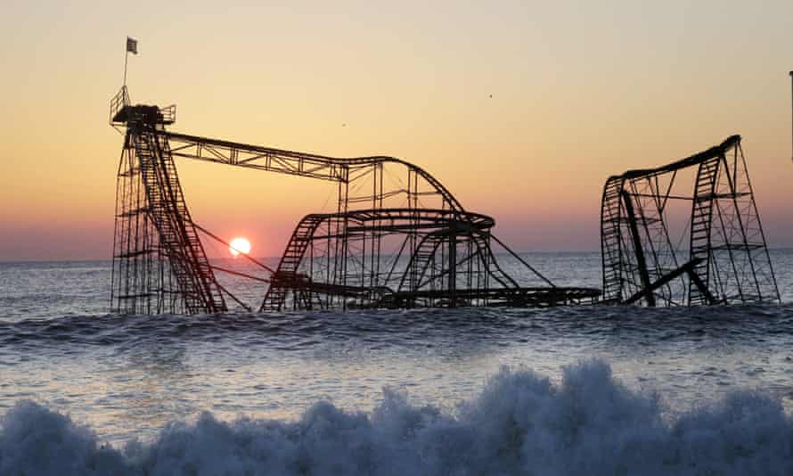 The Jet Star Roller Coaster, sitting in the ocean off the coast of Seaside Heights, New Jersey, after Hurricane Sandy.