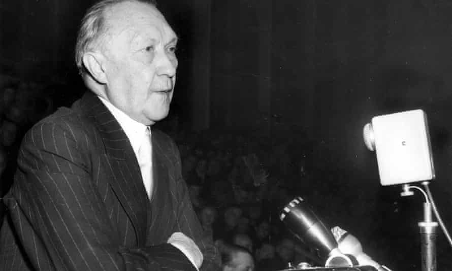 West German Chancellor Dr Konrad Adenauer makes an election speech, November 1950.