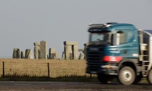 A lorry on the road near Stonehenge