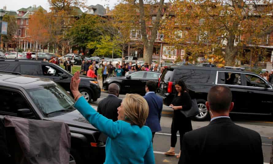 Hillary Clinton waves to supporters in Philadelphia, Pennsylvania Sunday.