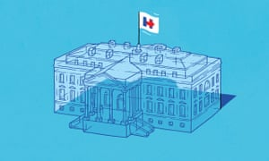 Transparent White House with Hillary Clinton campaign flag. Illustration by Jasper Rietman