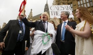 Boris Johnson wearing a toga in 2007, protesting against the threatened abolition of A-level ancient history.