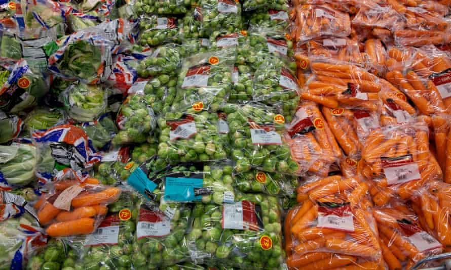 Asda groceries packaged in plastic