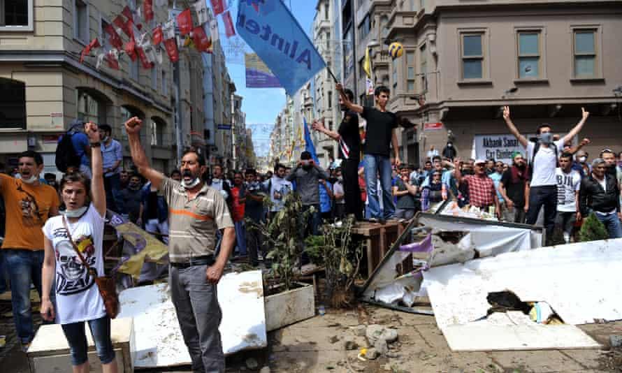 Protesters in Taksim Square in Istanbul, 2013