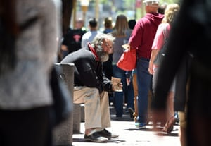 A homeless man in downtown San Francisco.