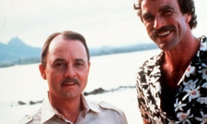 John Hillerman, left, with Tom Selleck in Magnum PI in 1980.