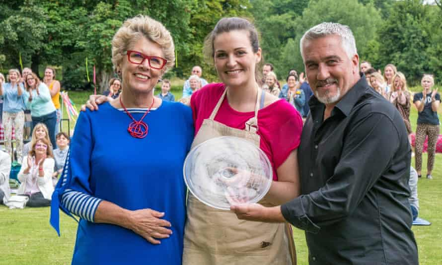 And the winner of Great British Bake Off 2017 is … Channel 4. Judges Prue Leith and Paul Hollywood with this year's champ, Sophie Faldo.