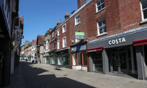 Empty high street in Winchester.