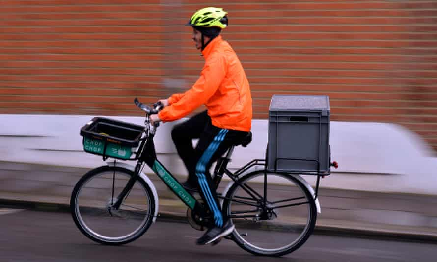 A Sainsbury's cycle courier