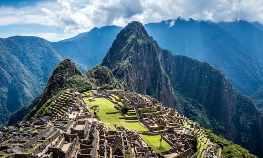 Aerial view of Macchu Picchu in Cusco, Peru