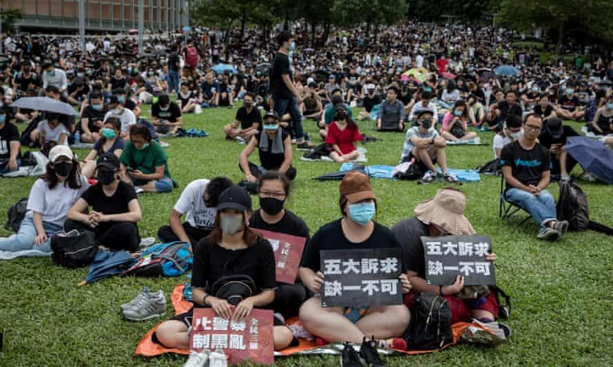 Students protesting in Hong Kong