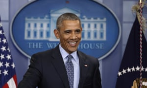 President Barack Obama smiles his final presidential news conference on 18 January 2017