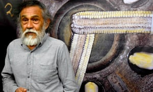 Francisco Toledo at an exhibition called 'the corn of our sustenance' at the Zapata underground station in Mexico City in 2015.