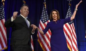 Nancy Pelosi and Democratic Congressional Campaign chair Ben Ray Lujan in Washington DC on 6 November.