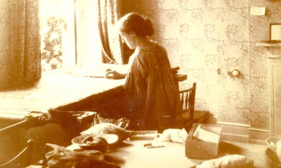 A stitch in time … May Morris embroidering at home in Hammersmith, London, in the 1920s.