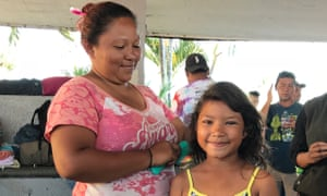 Miriam Carranza and her daughter, members of the Central American migrant caravan in Tapachula, Mexico.