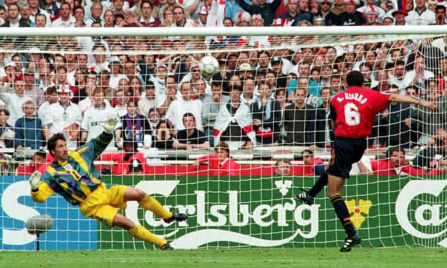 Fernando Hierro hits the bar with Spain's first penalty in the quarter-final shootout against England.