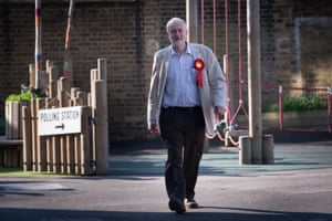 Jeremy Corbyn arrives to cast his vote at a polling station in Islington.