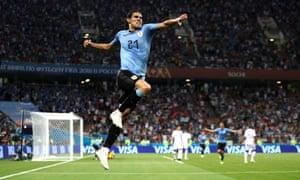 Edinson Cavani of Uruguay celebrates after scoring his second goal against Portugal.