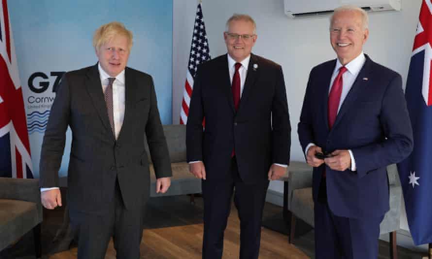 Boris Johnson, the Australian prime minister, Scott Morrison, and the US president, Joe Biden, at the G7 summit in June.