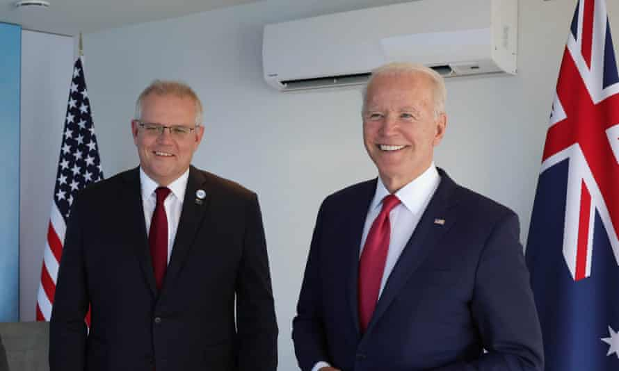 Australian Prime Minister Scott Morrison, and U.S. President Joe Biden pose for a photo at the Carbis Bay Hotel on 12 June, 2021