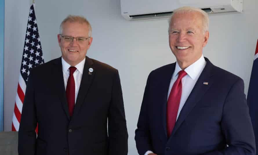 Australian prime minister Scott Morrison and US president Joe Biden during the G7 summit in Cornwall