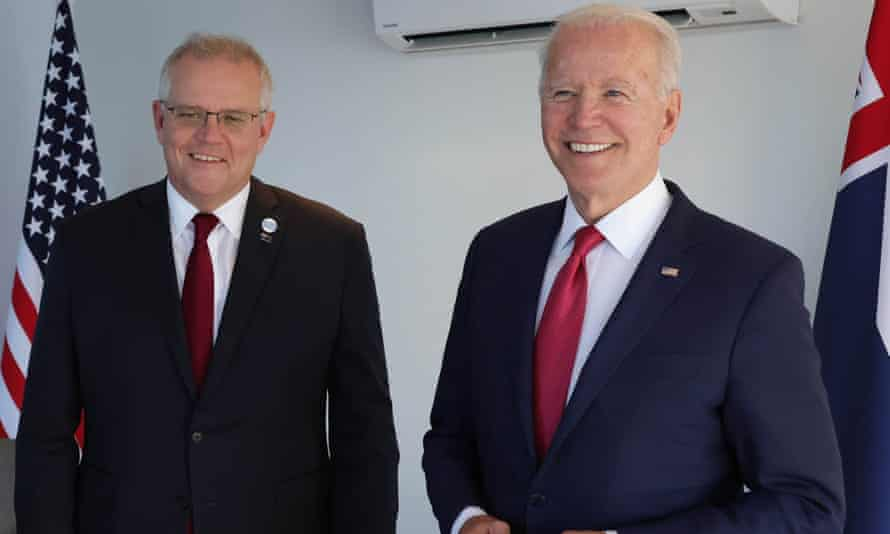 Scott Morrison and Joe Biden at the G7 summit in Cornwall in the UK in June 2021.
