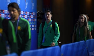 Emily Gielnik enters the stadium at the Women's World Cup