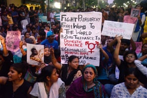 Students, social activists and other women rally against domestic violence outside the Kolkata police HQ