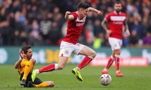 Callum O'Dowda of Bristol City is tripped by Joao Moutinho