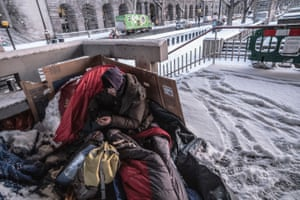 Homeless person sleeping out at -3C on the Embankment, half a mile from the House of Commons, on 28 February 2018
