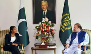 Pakistani prime minister Nawaz Sharif (right) meets Susan Rice