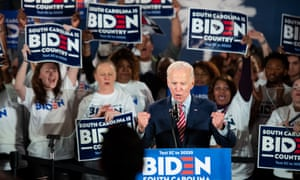 Joe Biden at a rally in Columbia on Wednesday. 'Over the next three weeks, 16 states will hold primaries, and voters of color figure to make up a substantial part of them.'