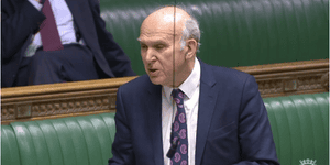 Vince Cable speaking in parliament today