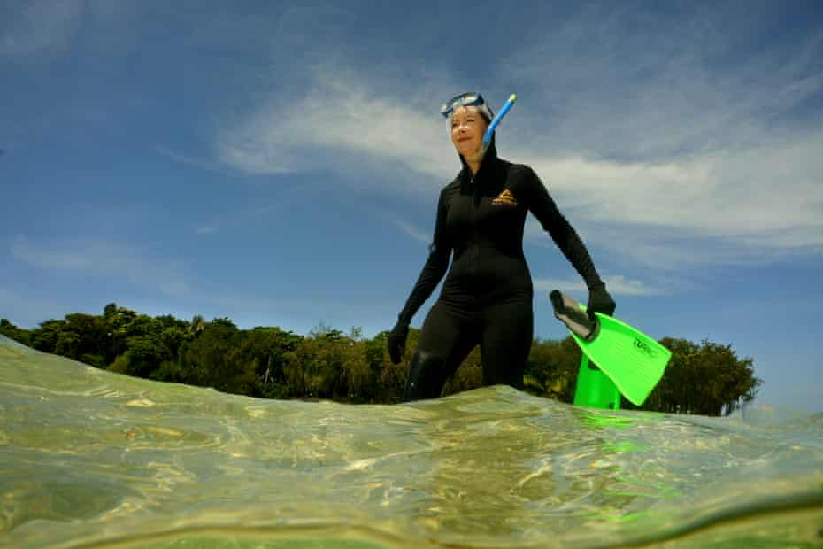 Dr Kathleen McInnes prepares to view the coral at Green Island