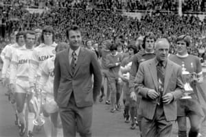Brian Clough, left, and Bill Shankly, at the 1974 FA Charity Shield game at Wembley.