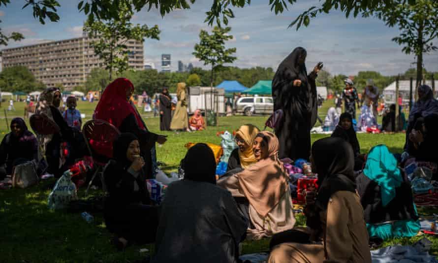 Women celebrating the Muslim festival of Eid in Southwark, south London